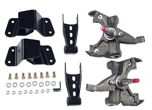 "McGaughy's 2/4"" Deluxe Lowering Kit: Drop Spindles, Rear Hangers & Shackles"