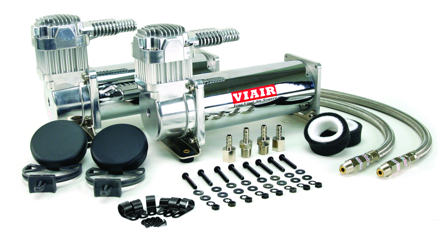 200PSI Air Ride Kit Air Lift 12 volt Viair 380C Chrome Air Compressor Kit